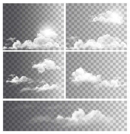 Set of backgrounds with transparent different clouds. Vector.