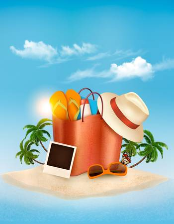Vacation concept. Palm tree, photos and a bag full of beach clothes. Vector.