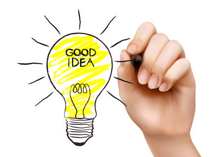 Hand draws a light bulb. Concept of the idea. Vector illustration Vector