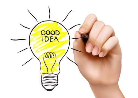 copy writing: Hand draws a light bulb. Concept of the idea. Vector illustration Illustration