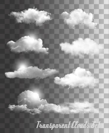 Set of transparent clouds. Vector. Çizim