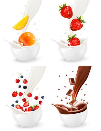 tomando leche: Chocolate y frutas frescas de colores que caen en el chapoteo lechoso. Ilustración vectorial