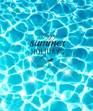summer: Fondo del verano vacaciones con hermosas aguas del mar. Vector.