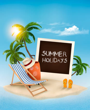 photo card: Beach with a palm tree, a photograph and a beach chair. Summer vacation concept background. Vector.