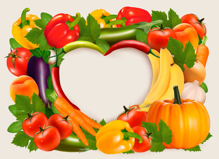 veg: Heart shaped background made of vegetables and fruit. Vector.
