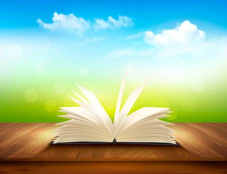 blue book: Open book on a wooden deck with green and blue backdrop. Vector.
