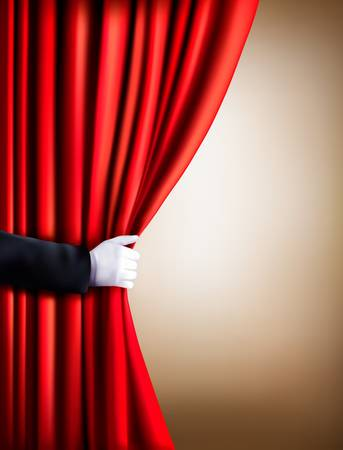 theater auditorium: Hand in a white glove pulling curtain away. Theater. Vector. Illustration