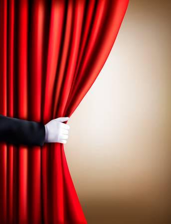 apertura: Mano en un guante blanco que tira de la cortina de distancia. Theater. Vector. Vectores