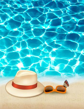clear skin: Vacation background with blue sea, a hat and sunglasses. Vector.
