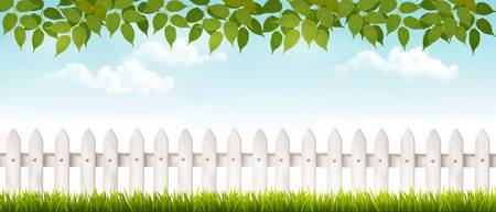 picket: Long white fence banner with grass and fence. Vector.