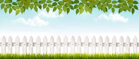 Longue barrière blanche bannière avec de l'herbe et de clôture. Vector. Banque d'images - 38867798