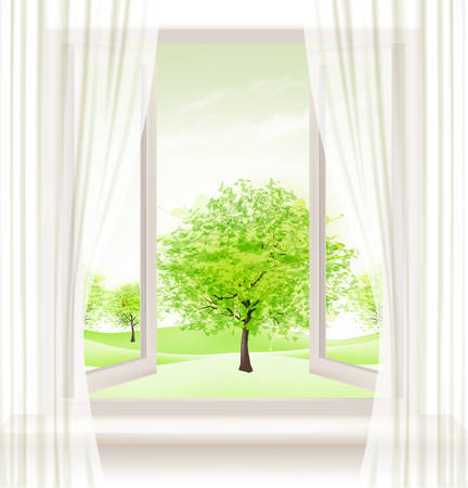open window: Background with an open window and green trees. Vector. Illustration