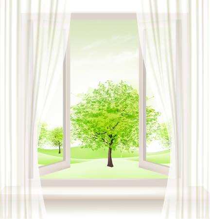 ventana abierta: Fondo con una ventana abierta y los árboles verdes. Vector. Vectores