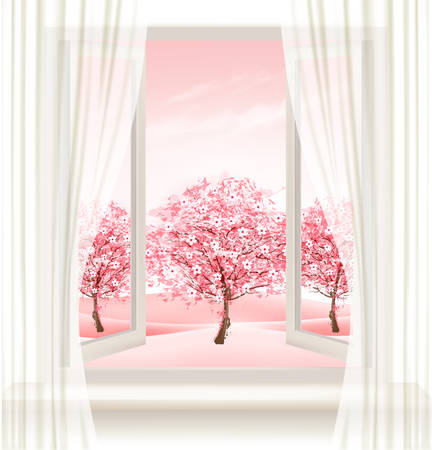 open doors: Spring background with an open window and blossoming pink sakura. Vector.