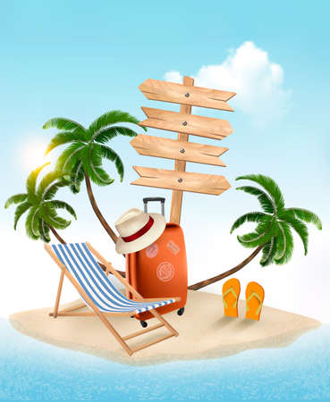 summer vacation: Beach with a palm tree, wooden sign and a beach chair. Summer vacation concept background. Vector.