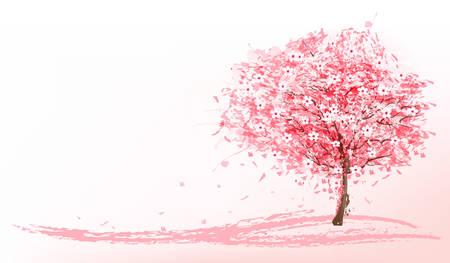 pretty: Beautiful background with a pink blooming sakura tree. Vector.