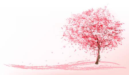 arbol de cerezo: Hermoso fondo con un árbol de sakura en flor rosa. Vector. Vectores