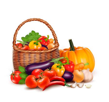 blanco: Una cesta llena de verduras frescas. Vector de fondo.