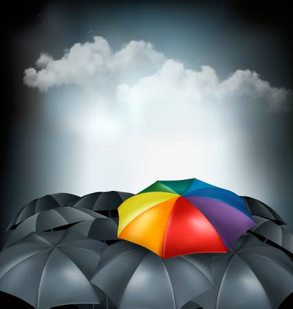 rainbow umbrella: A rainbow umbrella amongst grey ones. Uniqueness concept. Vector.