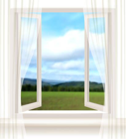 open window: Background with an open window and a landscape. Vector.