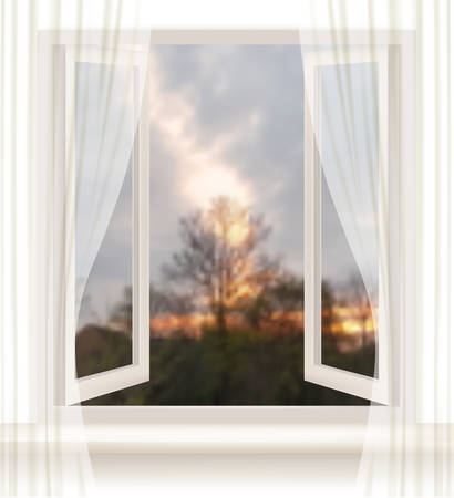 open window: Background with an open window and an evening background. Vector. Illustration
