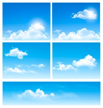 Five backgrounds of blue sky with clouds. Vector. Illustration