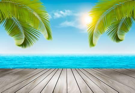 Tło wakacje. Plaża z palmami i błękitne morze. Wektor.