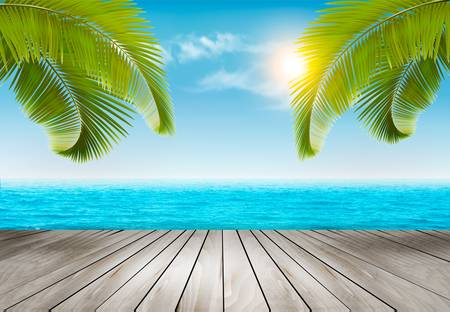 sun beach: Vacation background. Beach with palm trees and blue sea. Vector.