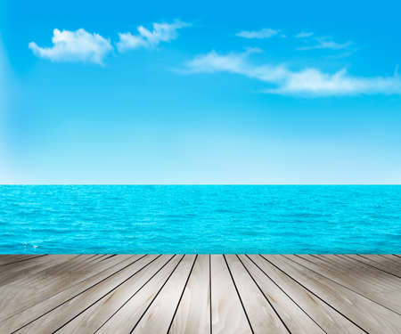 Nature background with a wooden deck, the sea and the sky. Vector. Stock Illustratie