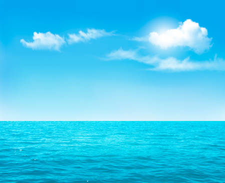 sunlit: Nature background - blue ocean and blue cloudy sky. Vector.