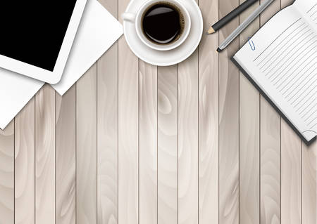 to write: Office workspace - coffee, tablet, paper and some pens. Vector. Illustration