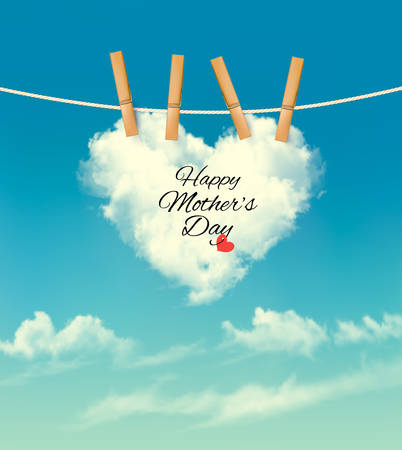 mothers day: Holiday mother day background with cloud on rope. Vector