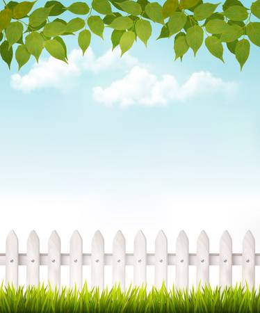 picket: Nature background with green_leaves and white french. Vector.