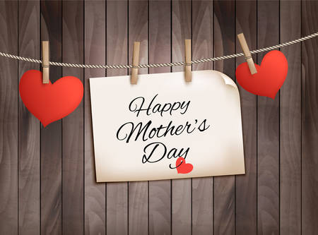 Retro holiday mother day background with red paper hearts on wooden texture. Vector