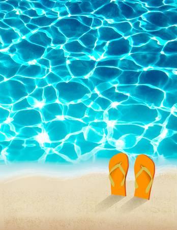 feriado: Fondo del verano vacaciones con hermosas aguas del mar. Vector.