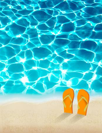Summer holidays background with beautiful sea water. Vector.