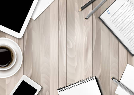 study table: Office workspace background - coffee, tablet, notebooks and paper. Vector. Illustration
