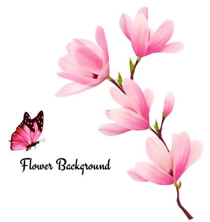 papillon rose: Nature background à la fleur branche de fleurs roses et papillon. Vecteur Illustration
