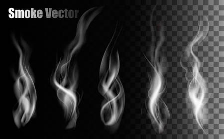 fumar: Vectores de humo en el fondo transparente. Vectores