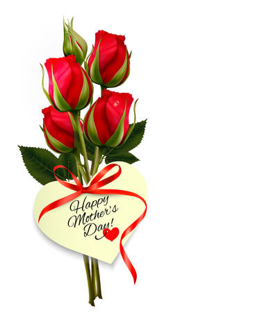Red roses with a heart-shaped Happy Mother's Day note and red ribbon. Vector.  イラスト・ベクター素材