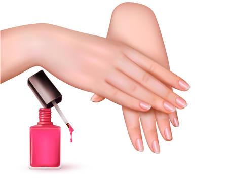 unas largas: Las mujeres j�venes con las manos una botella de esmalte de u�as de color rosa. Vector.