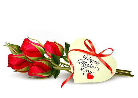 Three red roses with a heart-shaped Happy Mothers Day note and red ribbon. Vector. Illustration