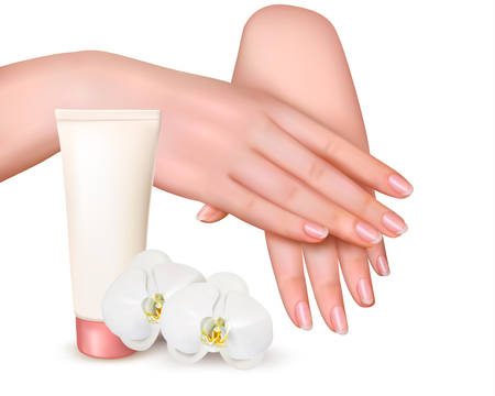 Beautiful young female hands with a cream and orchids. Vector. Иллюстрация