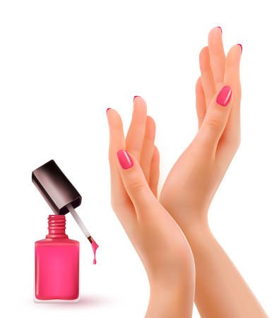 Hands with pink polished nails. Nail polish bottle. Vector.