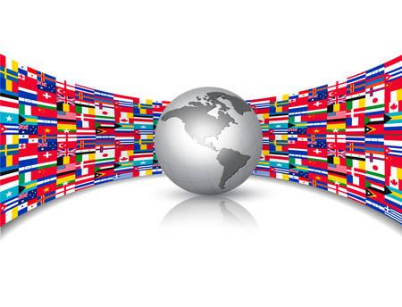 Flaggen der Welt Hintergrund mit einem Globus. Vector.