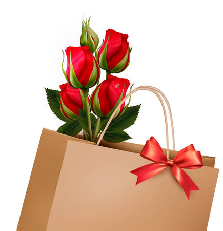 holiday shopping: Holiday Background With Paper Shopping Bag with Bouquet Of Red Roses. Vector. Illustration