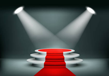 showroom: Showroom Background With A Red Carpet. Vector.