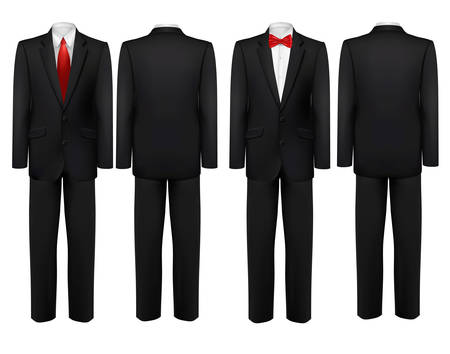 formal attire: Black suit and white shirt with butterfly and tie. Vector. Illustration