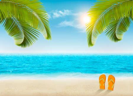 Urlaub Hintergrund. Strand mit Palmen und blaues Meer. Vector.