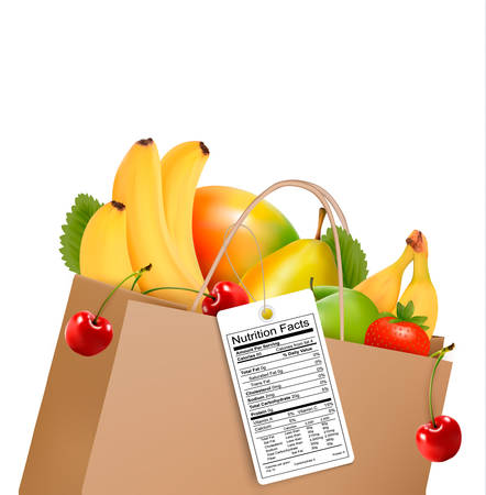 nutrient: Shopping bag with healthy fruit and a nutrient label. Vector.
